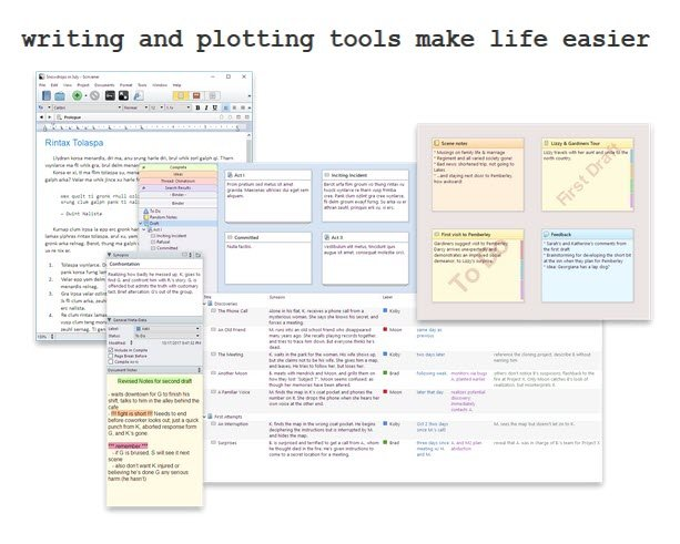 writing and plotting tools such as scrivener make like easier